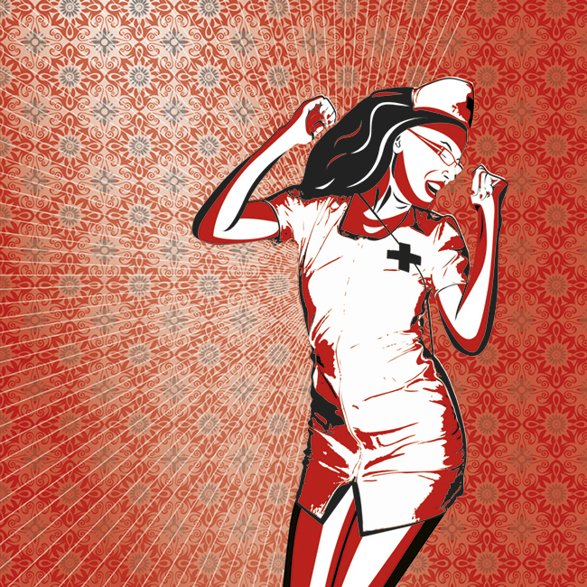 illustration infirmiere shepard fairey rouge noir blanc